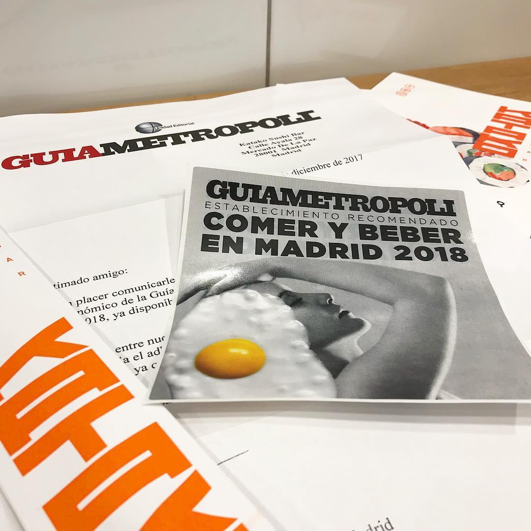Guía Metropoli Comer y Beber en Madrid 2018 Katako Sushi Bar